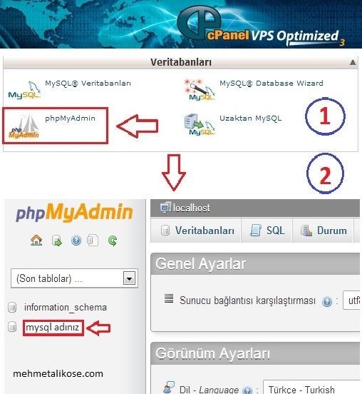 wordpress_phpmyadmin_sifre_degisme